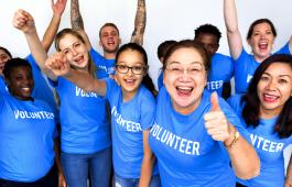 Volunteers celebrating