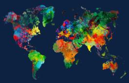 Mapa-múndi colorido
